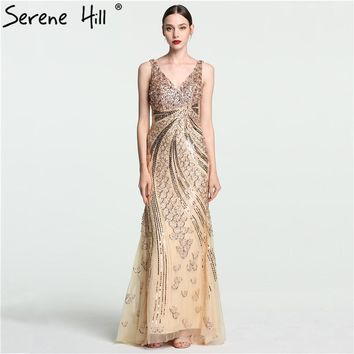 Luxury Gold hard working Beading Sequined Mermaid Evening Dresses Long V-Neck Lang