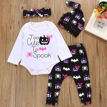Halloween Costumes Baby Girl Clothes Sets 100% Cotton Newborn Bodysuits Pant Hat Hairband Suit Pumpkin Bat Spider Spook Jumpsuit