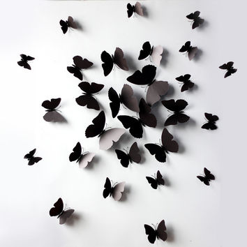 Innovative Butterfly 12 Pcs Strong Character Decoration Wall Sticker [9357946180]