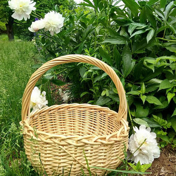 Big Round Basket, Large Wicker Basket, Chunky Weave Coil Rush Reed Basket, Wedding Basket, Natural Cane Basket with Handle, Big Woven Basket