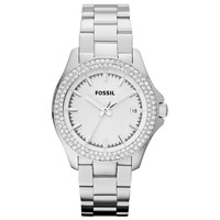 Fossil AM4452 Women's Retro Traveler Sports Silver Dial Steel Bracelet Watch