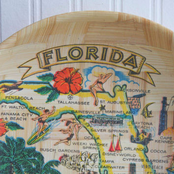 Florida Bamboo Vintage Souvenir Tray - Kitsch Tropical Home Decor, Silver Springs, Kennedy Space, Travel Road Trip, Gift
