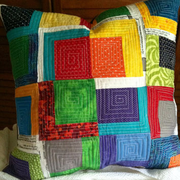 Quilted Improv Pillow/Cushion Color Blocks