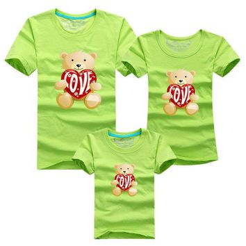 PEAPGB2 1 pc Toy Bear Love 95% Cotton Shirt Yellow Colors Family Set T Shirts Matching Family Clothing Men Women Kids Large T-Shirts