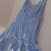 Flora Nikrooz Negligee Victora Secret Designer Long Nightgown Sexy Liquid Blue Satin Heavy Lace Appliques