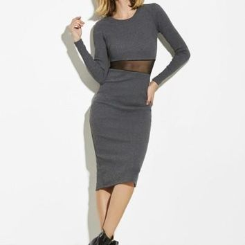 Plain Mesh Patchwork Women's Sheath Dress