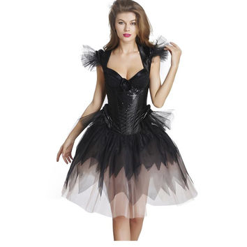2016 S-XXL New Hot Dress Fairy Elegant Lace Sexy Black Training Corset Vintage Plus Size Shaper Sexy Lingerie With Bow W46245