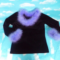 Lavender Marabou Black Velvet Long Sleeve Top