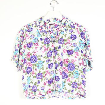 Vintage 1980s Floral Shirt Mixed Print Liberty Ditsy Floral Button Down Short Sleeve Boxy Crop Top 80s Cropped Shirt Soft Grunge S M Medium