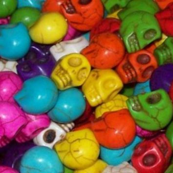Multicolor Carved Skull Howlite Turquoise Gemstone Loose Beads Strand