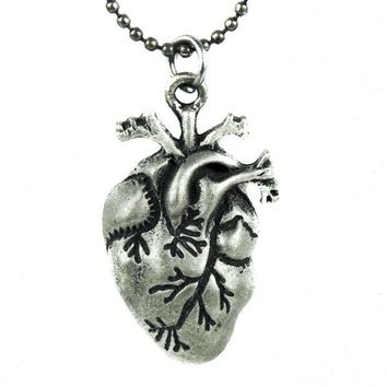 ac spbest 1' Small Anatomical Human Heart Necklace Gothic Jewelry