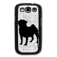 Pug Dog On Dictionary Retro Vintage - Protective Designer BLACK Case - Fits Samsung Galaxy S3 SIII i9300