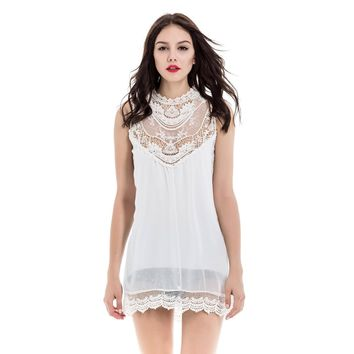 Lace Splicing Sleeveless Stand-Up Collar Hollow Out Design Women's Dress
