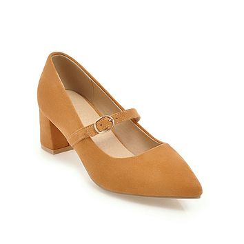 Pointed Toe Mary Janes Mid Heel Pumps Shoes for Women 5991