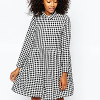 Monki Gingham Smock Shirt Dress