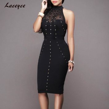 Laceyce 2017 Women Summer Studded Button Olive Mesh Black Sleeveless Knee-length Bodycon Celebrity Runway Bandage Party Dresses