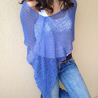 Blue spring summer knit poncho, light weight shrug, loose knit women cape, trendy cotton top