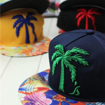 New Fashion Maple Flat Embroidery Hat Baseball Cap Hip Hop Caps Street Casual Cap With 5 Color