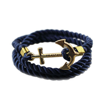 Summer Retro Style Handmade Gold Plated  Anchors Shaped with Rope String Sufer Friendship Bracelet for Men Women