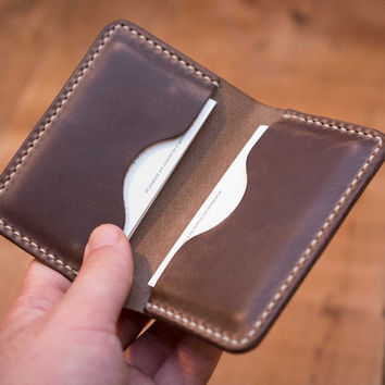 Driftwood Leather Business Card Holder