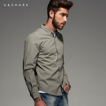 Vintage Patchwork Design Oxford Grey Shirt Men Blouse Cotton Clothing Long Sleeve Casual Shirt Male Home