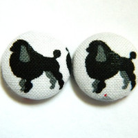 Button Earrings Dog Poodle White Black Grey