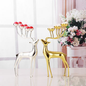 Luxurious Spotted Deer Candle Holders Stainless Steel Candle Holders Candlestick Wedding Candelabra Decoration With Free Candles