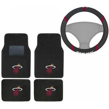 Licensed Official New NBA Miami Heat Car Truck Carpet Floor Mats & Steering Wheel Cover Set