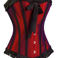 Dark Red Elegant Burlesque Color Shift Corset from Blood-Rose Mystique
