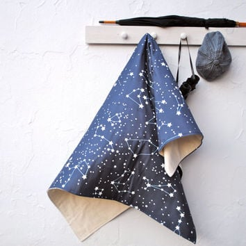 Throw Blanket- Organic Throw Blanket- XL Galaxy Stars in Midnight Blue- Eco Friendly- Bedroom Decor, Sofa Blanket, Nautical
