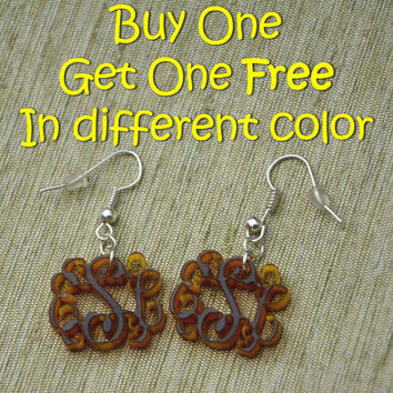 PROMO Buy One Get One FREE 3 Initials Monogram Earrings - 1 inch Vine Personalized Monogram Acrylic Custom Lasercut