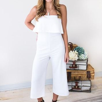 Waiting on Love Crop White Jumpsuit