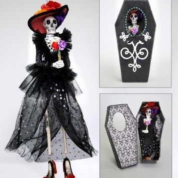 DAY OF THE DEAD Skeleton Figural Ornament In Coffin Gift Box
