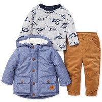 Little Me Baby Boys 3-Pc. Jacket, Top & Pants Set Kids - Sets & Outfits - Macy's