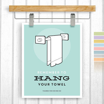 Bathroom print - Digital Download - Hang your towel - Towel poster - Printable 8x10 - Bathroom rules - Instant Download - Poster Art - Retro
