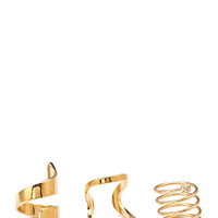 FOREVER 21 Architectural Statement Ring Set Gold/Clear