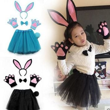 6d40f434996fc children halloween party cosplay black blue grey white pink rabb