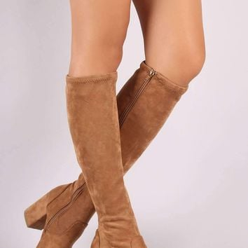 Bamboo Suede Almond Toe Block Heeled Knee High Boots