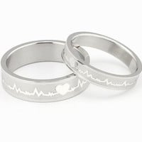 (Male+Female)New Fashion Jewelry Silver Heartbeat 316 l Stainless Steel Wedding Band Anniversary/Engagement/Promise/Couple Ring Best Gift!