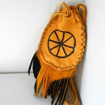 ON SALE Medicine Pouch, Medine Bag With Fringe, Handmade by Lakota Artist, Native American, Hippie, Boho, Tribal, Mountain Man, Powwow
