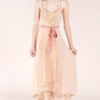 Goddess of Love Lace Paneled Cami Maxi Dress in Nude/Pink | Sincerely Sweet Boutique