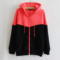 Autumn 2016 Hoodies Sweatshirt Women Patchwork Long Sleeve Zip-up Hooded Zipper Design Tracksuit Loose