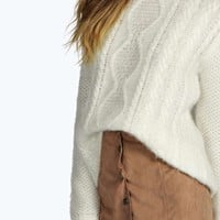 Boutique Sheela Fluffy Knit Cable Knit Jumper