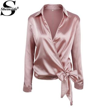Sheinside Satin Knotted Hem Wrap Surplice Blouse V Neck Lapel Collar Long Sleeve Bow Elegant Blouse Womens Sexy Blouse