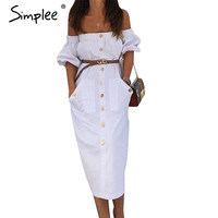 Simplee Button off shoulder white dress Women pocket half sleeve waistband sexy dress Autumn winter elegant dresses vestidos