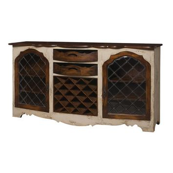 Credenza With Wine Storage Cream