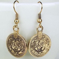 Bohemian Gypsy Zamac Tibetan Coin Dangle Earrings