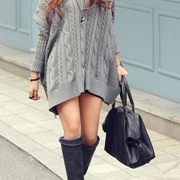 Grey Plain V-neck Dolman Sleeve Oversize Site Slit Boyfriend Pullover Sweater