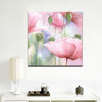 Abstract Watercolor Flowers Wall Art Colorful Hand Painting Poppy Flowers Print Poster on Canvas for Living Room Home Decor Gift