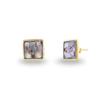 18K Yellow Gold Purple Amethyst Squares